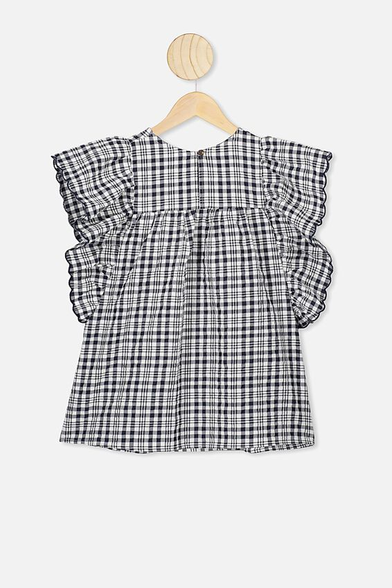 Maggie Short Sleeve Dress, INDIAN INK CHECK