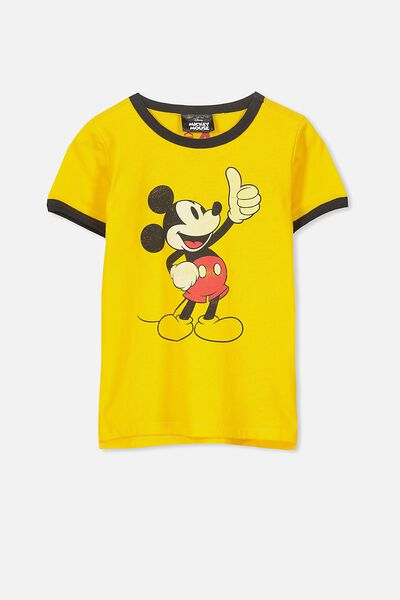 Short Sleeve License Tee, DUNGAREE YELLOW/THUMBS UP MICKEY