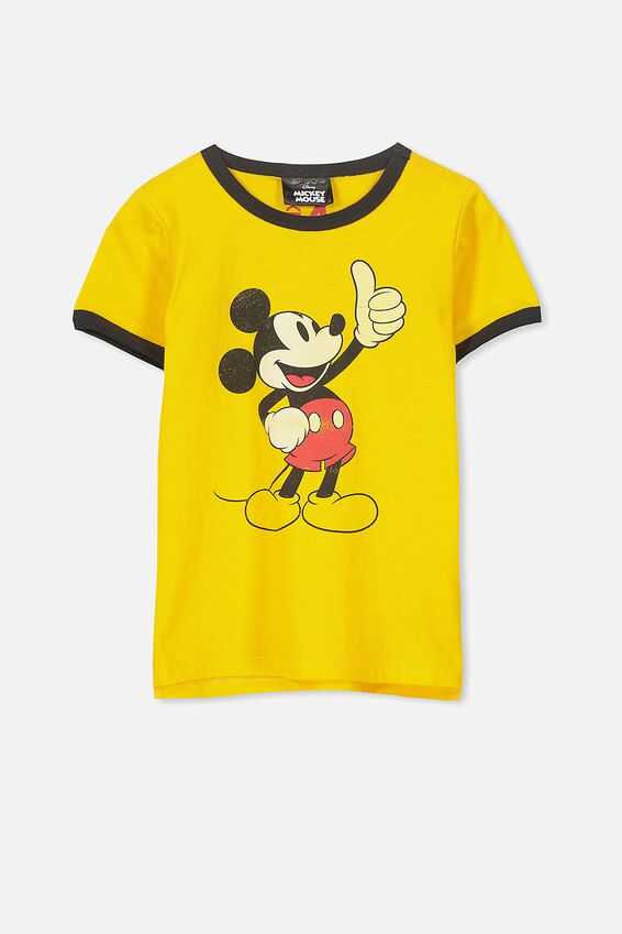 Mickey Mouse Yellow Ringer Tee, DUNGAREE YELLOW/THUMBS UP MICKEY