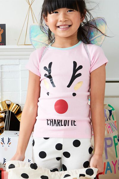 Chloe Short Sleeve Pyjama Set- Personalised, XMAS REINDEER SPOT