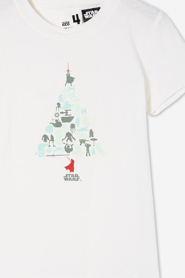 Short Sleeve License1 Tee, LCN LUC RETRO WHITE/STAR WARS XMAS TREE
