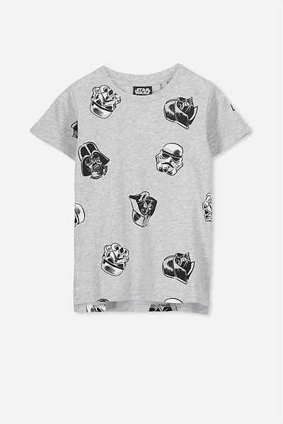 Short Sleeve License Tee, LT GREY/STAR WARS HEADS