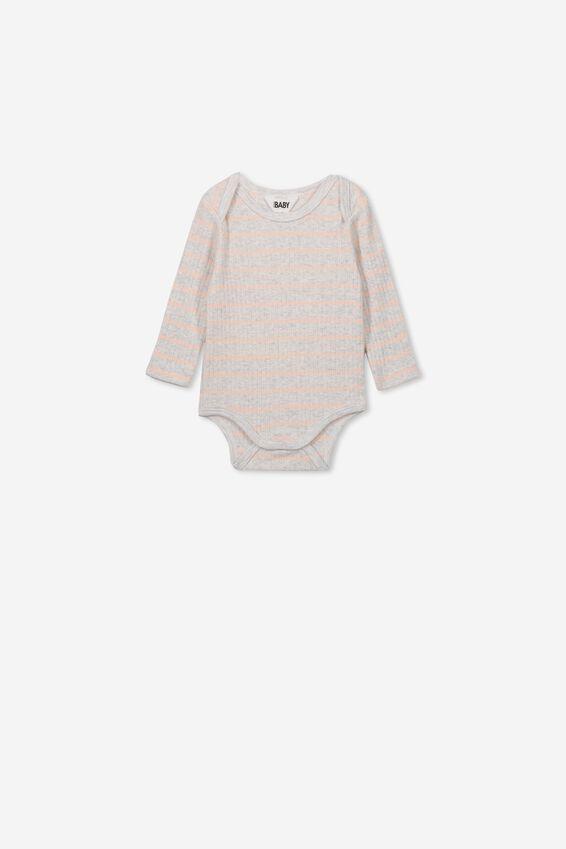 Newborn Long Sleeve Bubbysuit, MAX STRIPE SOFT GREY MARLE/PEACH