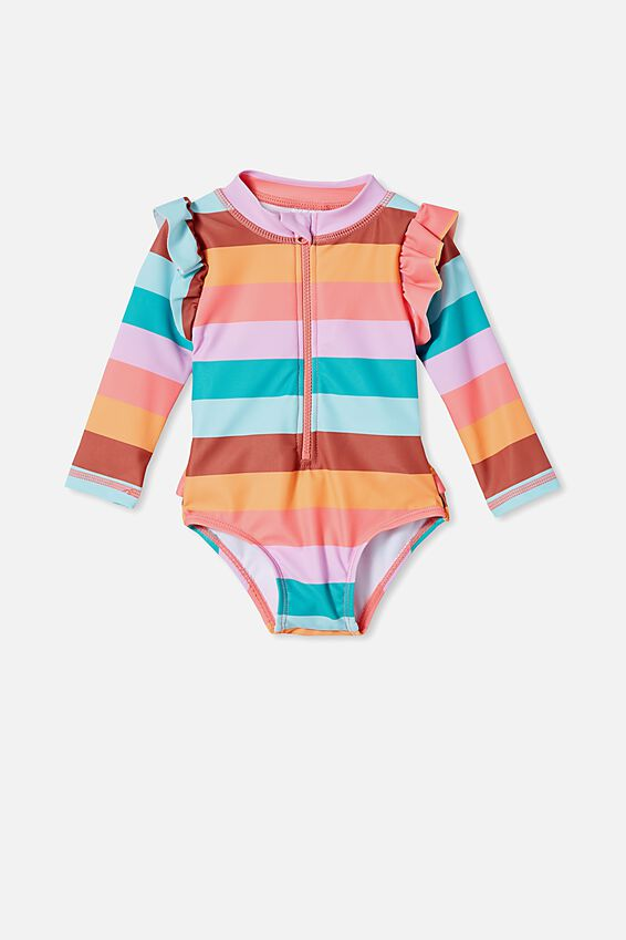 Lucy Long Sleeve Swimsuit, RETRO CORAL/MULTI-STRIPE