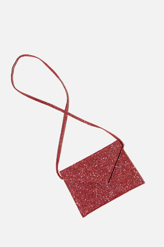 Glitter Envelope Ashley Party Bag, RED GLITTER