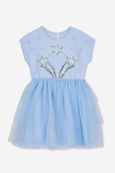 Iris Tulle Dress, SKY BLUE/GARDEN PARTY