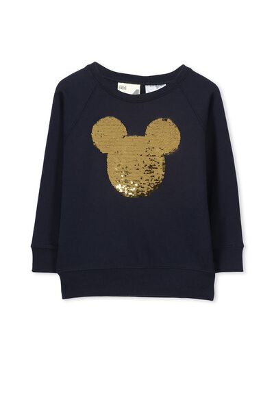 License Batwing Sweater, PEACOAT/REVERSIBLE MICKEY HEAD
