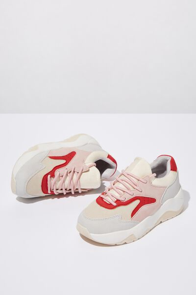 Chunky Lace Up Trainer, COLOUR BLOCK