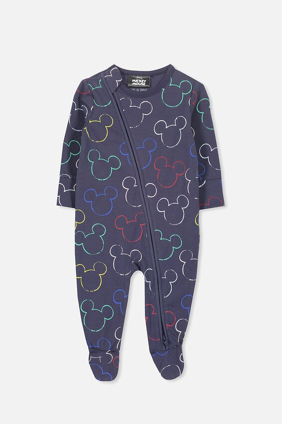 Mickey Mouse Navy Zip Through Romper, WASHED NAVY/MICKEY OUTLINE