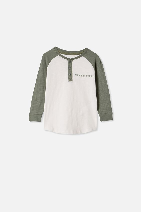Maddox Long Sleeve Henley Tee, SWAG GREEN RETRO WHITE  / NEVER TIRED