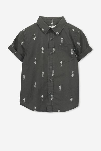Jackson Short Sleeve Shirt, WASHED GRAPHITE/SKELETONS