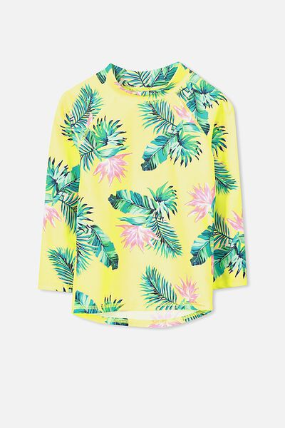 Hamilton Long Sleeve Rash Vest, CITRONELLA/TROPICAL LEAF