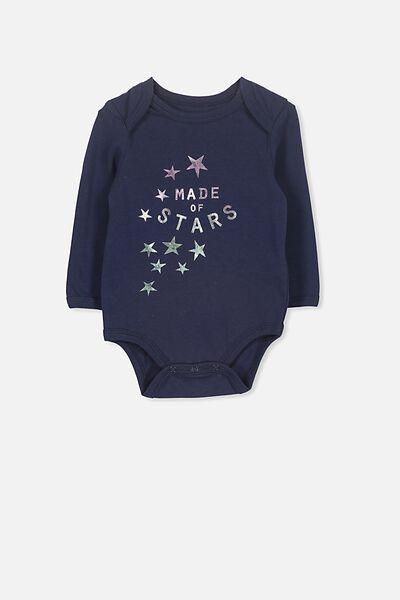 Mini Long Sleeve Bodysuit, PEACOAT/STARS