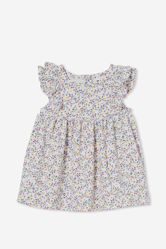 Megan Sleeveless Ruffle Dress, VANILLA/CALI PINK SOMERSET FLORAL