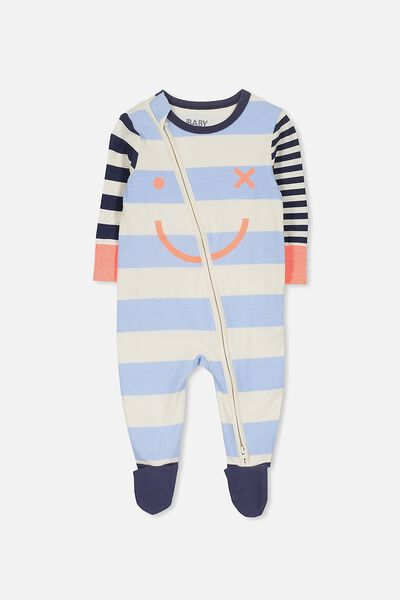 Mini Zip Through Romper, DARK VANILLA/STRIPE FACE