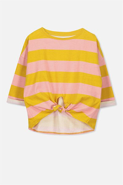 Chloe Ls Top, BRIDAL ROSE/MINERAL YELLOW STRIPE