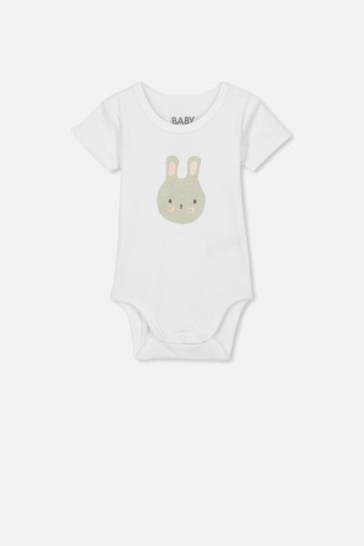 Newborn Short Sleeve Bubbysuit, PURE WHITE/BUNNY