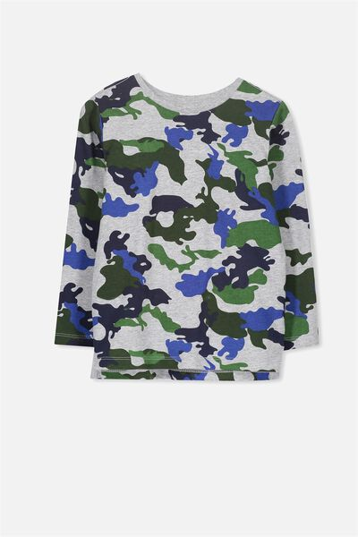 Tom Long Sleeve Tee, LT GREY MARLE/BLUE GREEN CAMO