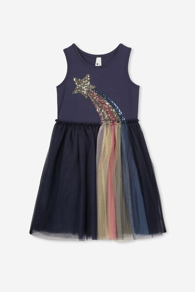 Iris Tulle Dress, INK/SHOOTING STAR