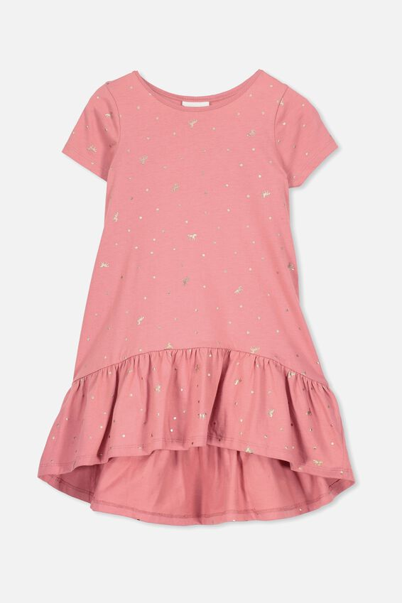 Joss Short Sleeve Dress, RUSTY BLUSH/UNICORN SPOT