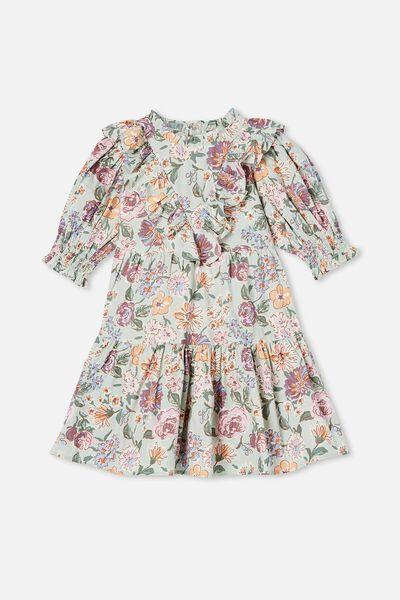 Magnolia Short Sleeve Dress, DUCK EGG PAINTERLY FLORAL