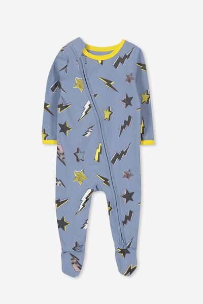 Sleep Mini Zip All In One Jumpsuit, FADED DENIM/STARS AND BOLTS