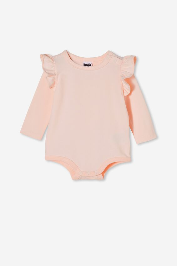Long Sleeve Ruffle Bubbysuit, CRYSTAL PINK