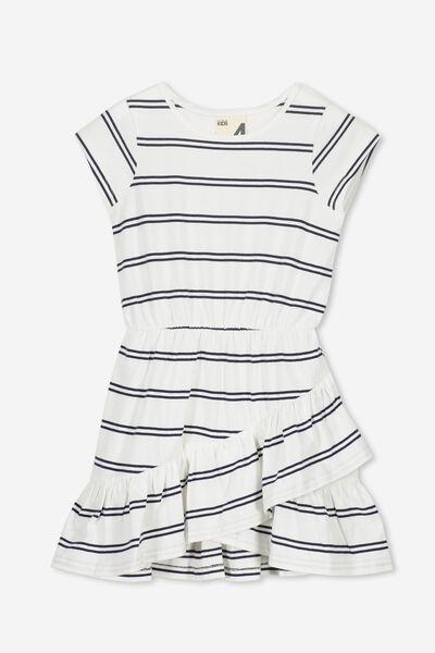 Joey Short Sleeve Dress, VANILLA/PEACOAT STRIPE
