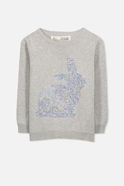 Milly Jumper, SILVER MARLE/SEQUIN BUNNY