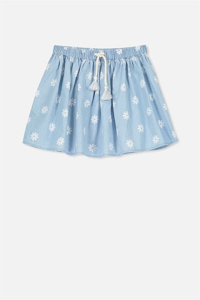 Elise Skirt, BLEACH WASH CHAMBRAY/DAISY YARDAGE