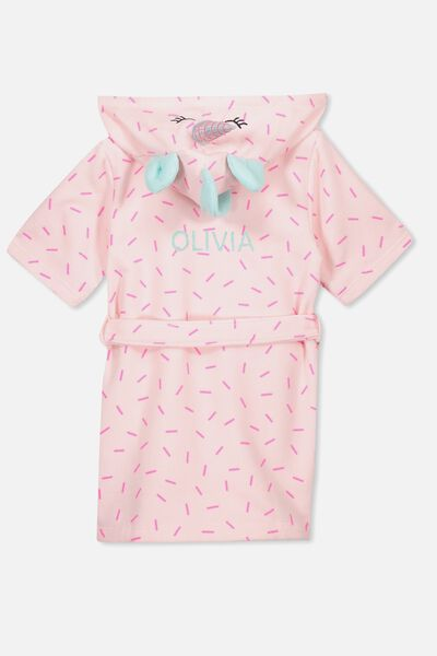 Girls Hooded Terry Gown Personalised, SPECKLED UNICORN PERSONALISED