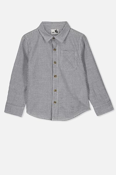 Prep Long Sleeve Shirt, INDIGO/WHITE VERTICAL STRIPE