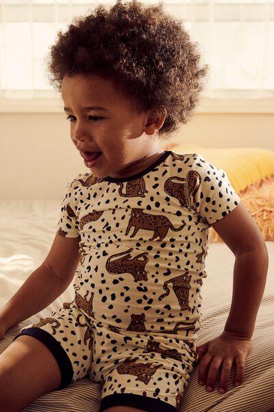 Ted Short Sleeve Pajama Set, SITTING LEOPARD