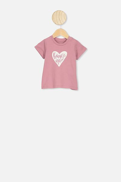 Jamie Short Sleeve Tee, DUSTY BERRY/KINDNESS MATTERS