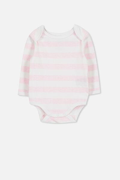 Mini Long Sleeve Bubby, WHITE/PINK MARLE STRIPE