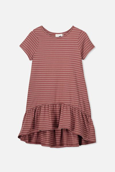 Joss Short Sleeve Dress, PEACH WHIP/HENNA STRIPE