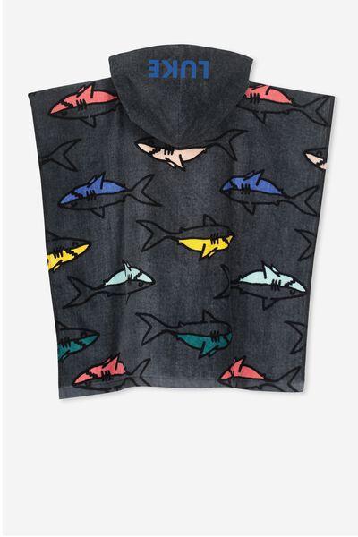 Personalised Hooded Towel, GREY SHARK PERSONALISED