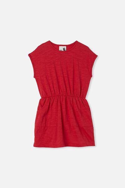 Sigrid Short Sleeve Dress, LUCKY RED