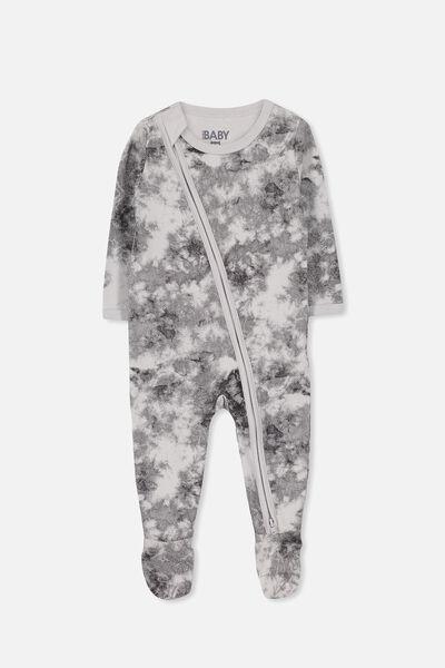 Sleep Mini Zip All In One Jumpsuit, WINTER GREY/PHANTOM SNOW WASH