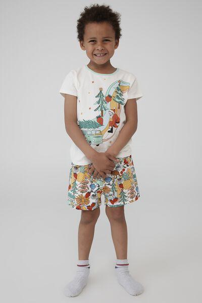 Hudson Short Sleeve Pyjama Set, AUSTRALIANA XMAS/VANILLA