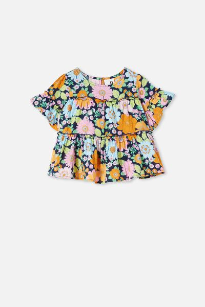Frede Short Sleeve Frill Top, INDIAN INK/RETRO FLORAL