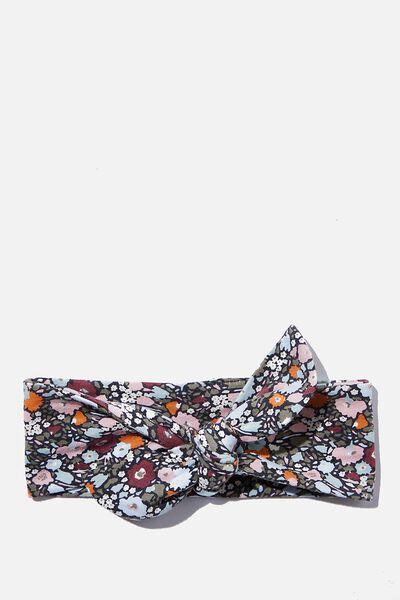 The Tie Headband, RABBIT GREY/ABBY FLORAL