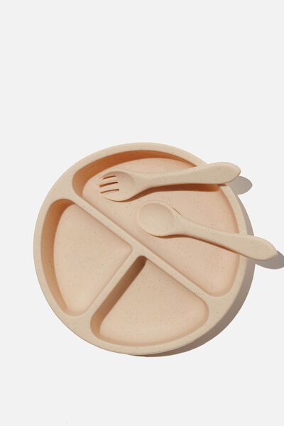 Silicone Plate & Cutlery Set, OATMEAL SPECKLE