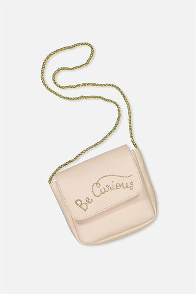 Slogan Party Bag, SHELL PEACH/BE CURIOUS