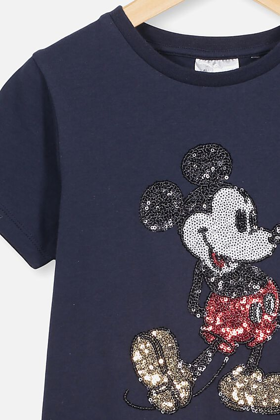 Lux Short Sleeve Tee, LCN DIS/INDIAN INK/SEQUIN MICKEY/MAX