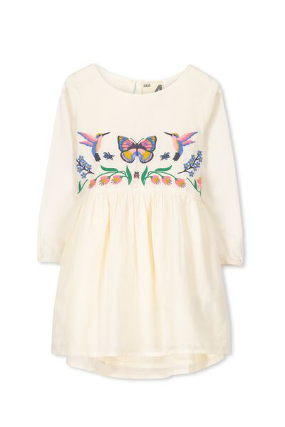 Poppy Long Sleeve Dress, EGGNOG/EMB