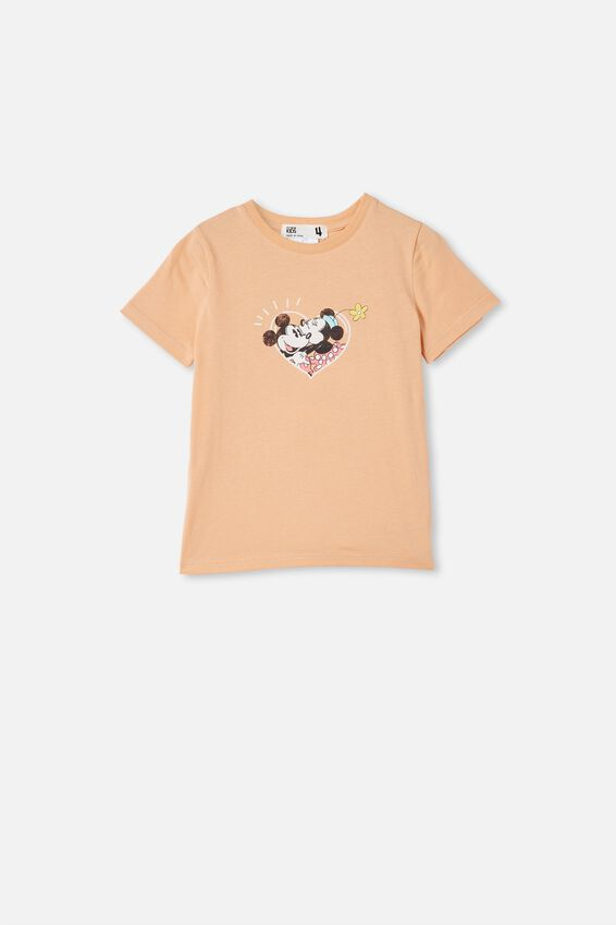 License Short Sleeve Tee, LCN DIS PEACHY/MICKEY AND MINNIE IN LOVE