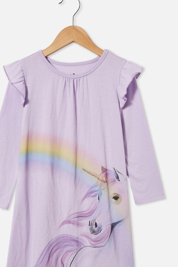 Laura Long Length Nightie, UNICORN RAINBOW VINTAGE LILAC