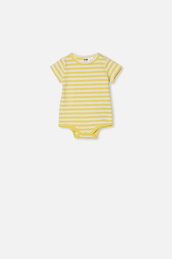 The Short Sleeve Bubbysuit, HANNAH STRIPE SUNSHINE/VANILLA