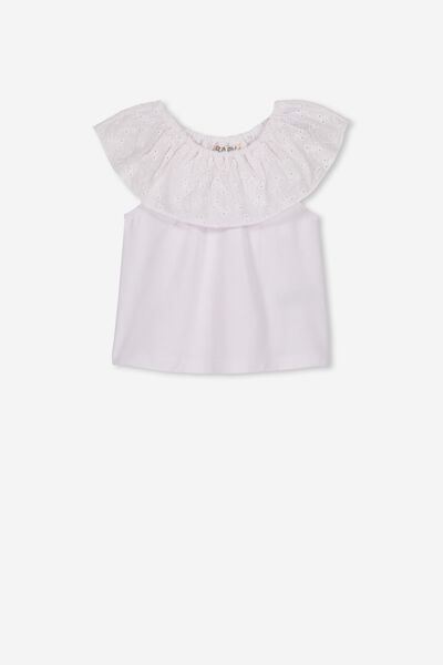 Kaylee Broidery Top, WHITE